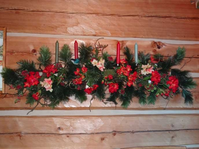 Christmas floral wall swags river lodge interiors