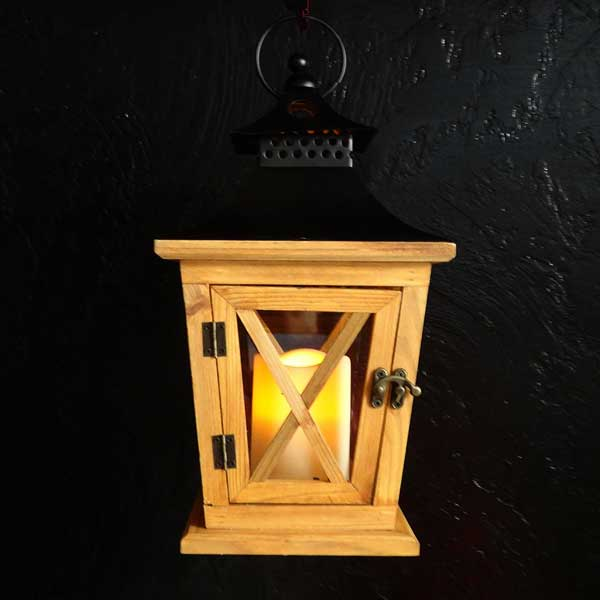 Natural Wood Lantern With Candle River Lodge Interiors