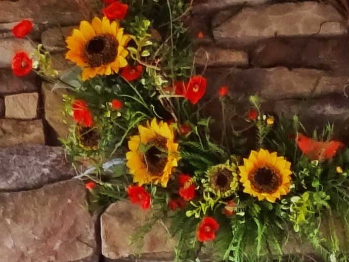 Poppies and Sunflowers wreath